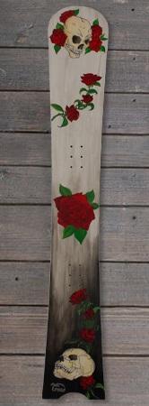 Pogo Snowboards - Impact handbemalt skull and roses